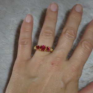 Simulated Ruby Ring, 14K Gold Plated, New, Size 6